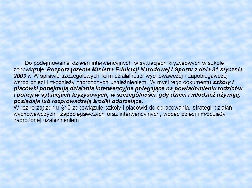 Do podejmowania działań interwencyjnych w sytuacjach kryzysowych w szkole zobowiązuje Rozporządzenie Ministra Edukacji Narodowej i Sportu z dnia 31 st