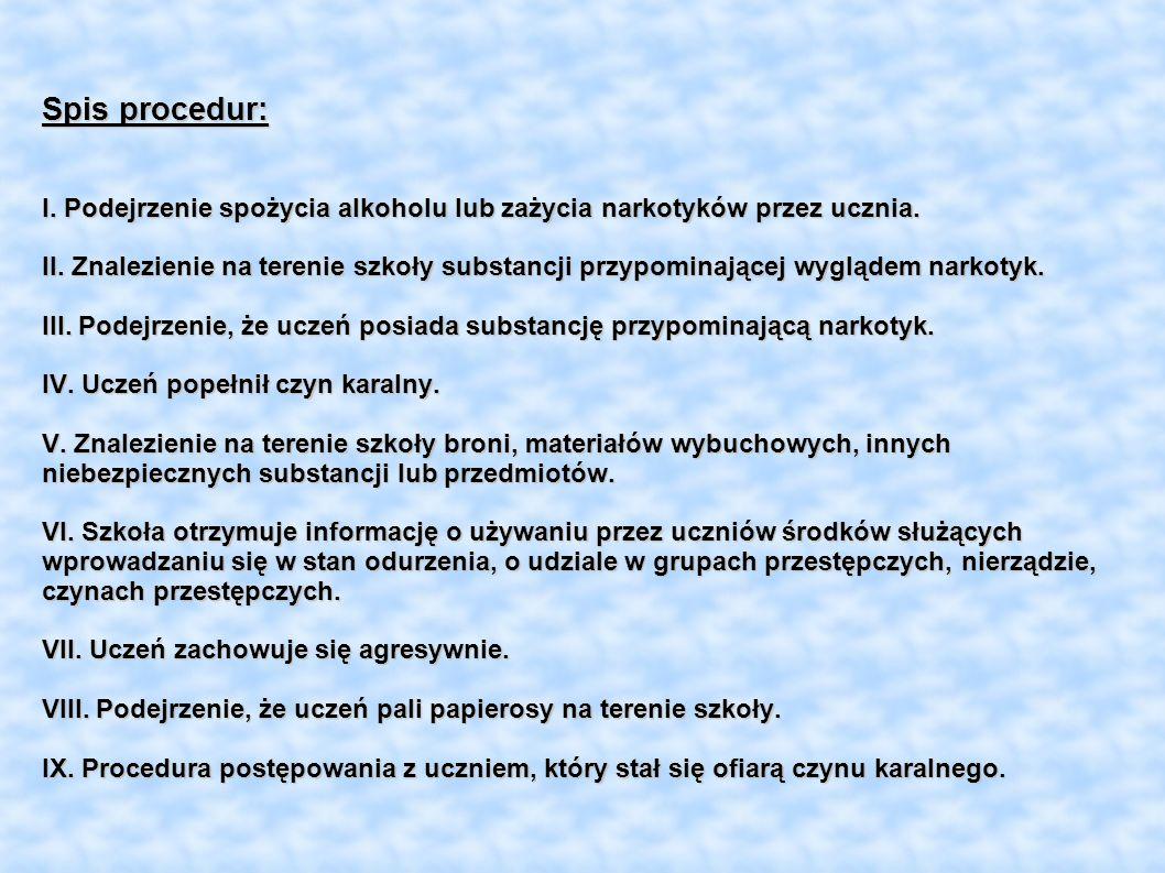 Spis procedur: I. Podejrzenie spożycia alkoholu lub zażycia narkotyków przez ucznia. II. Znalezienie na terenie szkoły substancji przypominającej wygl