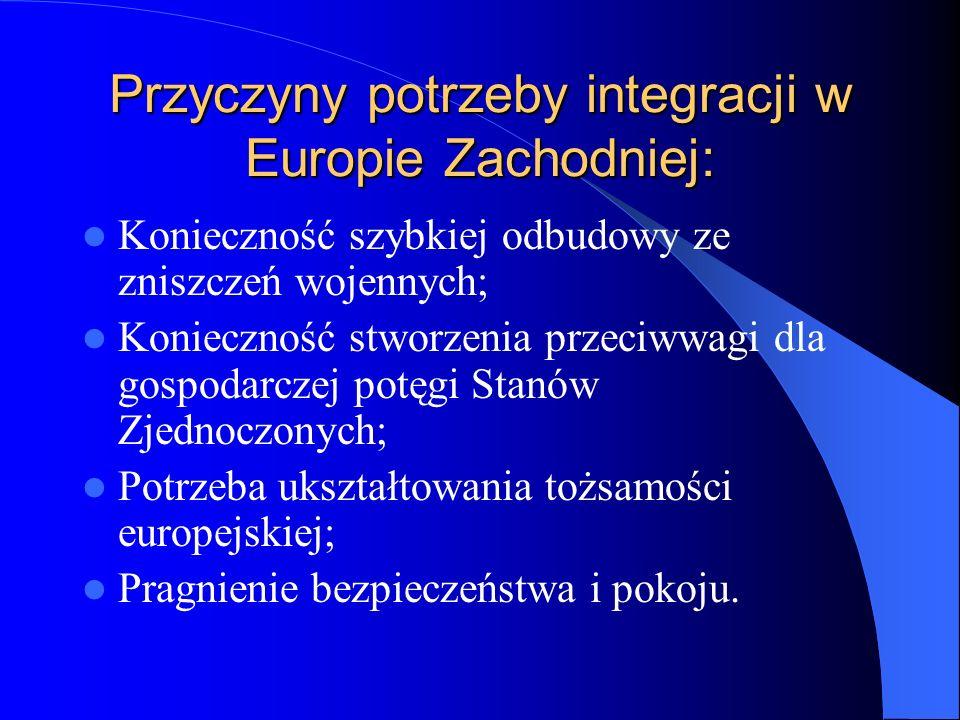 Przyczyny potrzeby integracji w Europie Zachodniej: Konieczność szybkiej odbudowy ze zniszczeń wojennych; Konieczność stworzenia przeciwwagi dla gospo