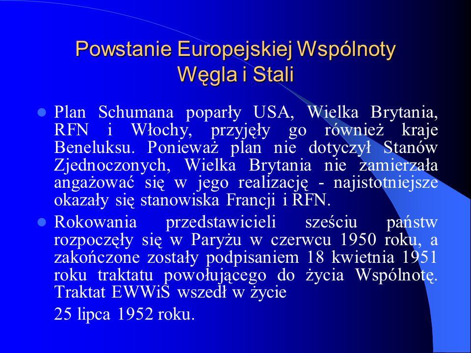 Powstanie Europejskiej Wspólnoty Węgla i Stali Plan Schumana poparły USA, Wielka Brytania, RFN i Włochy, przyjęły go również kraje Beneluksu. Ponieważ