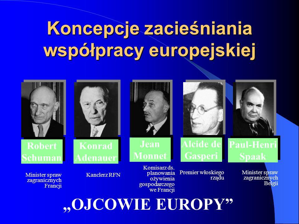 Koncepcje zacieśniania współpracy europejskiej Minister spraw zagranicznych Francji Robert Schuman Robert Schuman Konrad Adenauer Jean Monnet Alcide d
