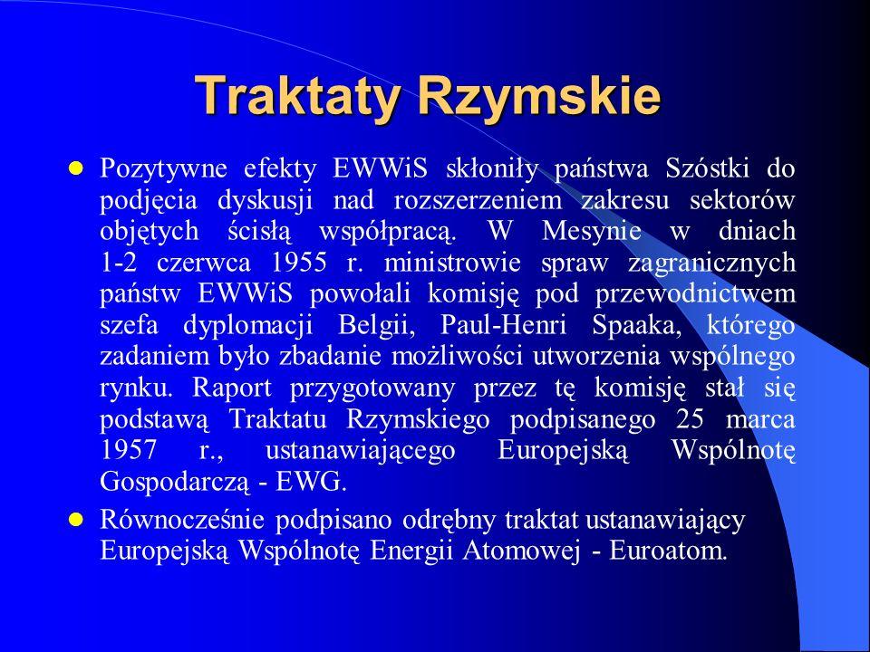Traktaty Rzymskie Pozytywne efekty EWWiS skłoniły państwa Szóstki do podjęcia dyskusji nad rozszerzeniem zakresu sektorów objętych ścisłą współpracą.