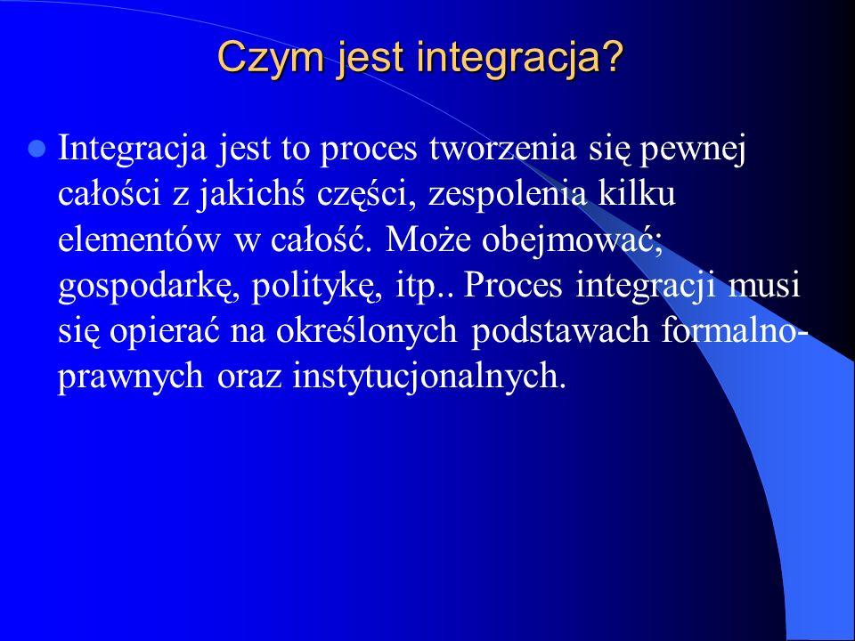 Czym jest integracja? Integracja jest to proces tworzenia się pewnej całości z jakichś części, zespolenia kilku elementów w całość. Może obejmować; go