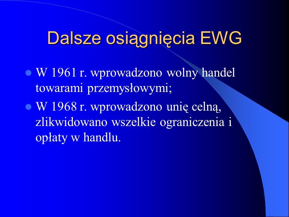 Dalsze osiągnięcia EWG W 1961 r. wprowadzono wolny handel towarami przemysłowymi; W 1968 r. wprowadzono unię celną, zlikwidowano wszelkie ograniczenia