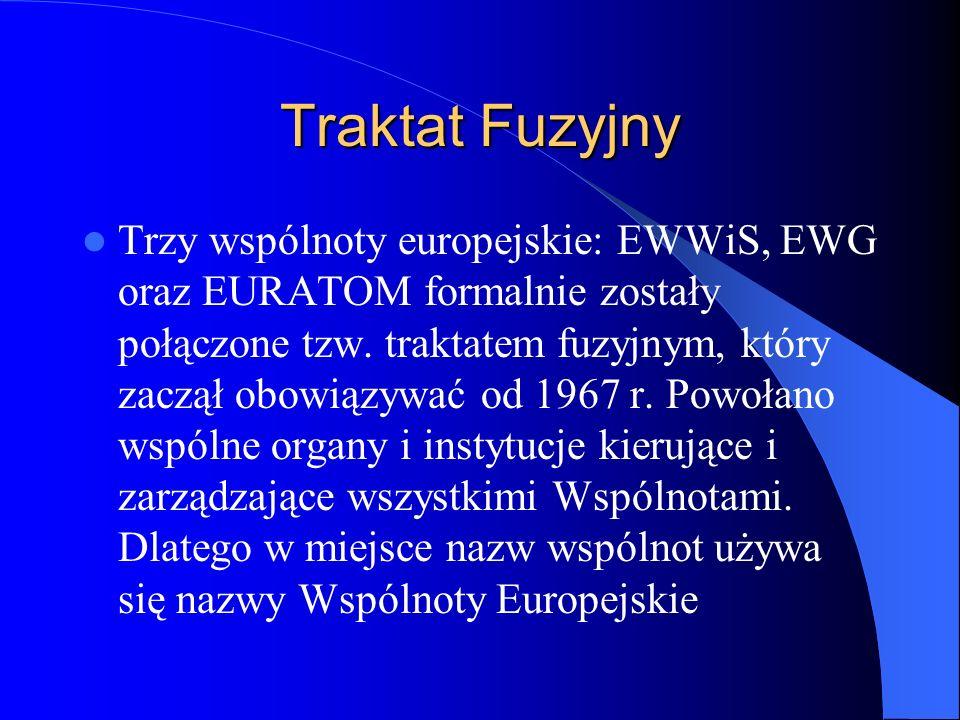 Traktat Fuzyjny Trzy wspólnoty europejskie: EWWiS, EWG oraz EURATOM formalnie zostały połączone tzw. traktatem fuzyjnym, który zaczął obowiązywać od 1
