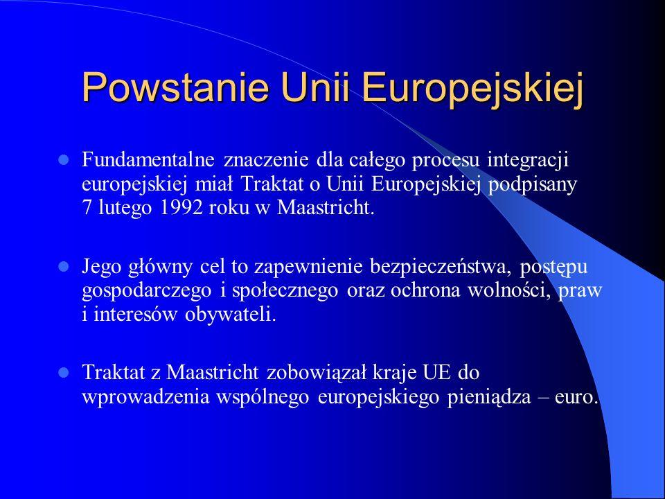 Powstanie Unii Europejskiej Fundamentalne znaczenie dla całego procesu integracji europejskiej miał Traktat o Unii Europejskiej podpisany 7 lutego 199