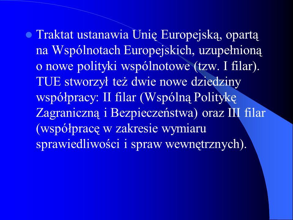 Traktat ustanawia Unię Europejską, opartą na Wspólnotach Europejskich, uzupełnioną o nowe polityki wspólnotowe (tzw. I filar). TUE stworzył też dwie n