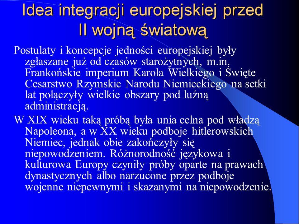 Idea integracji europejskiej przed II wojną światową Postulaty i koncepcje jedności europejskiej były zgłaszane już od czasów starożytnych, m.in. Fran
