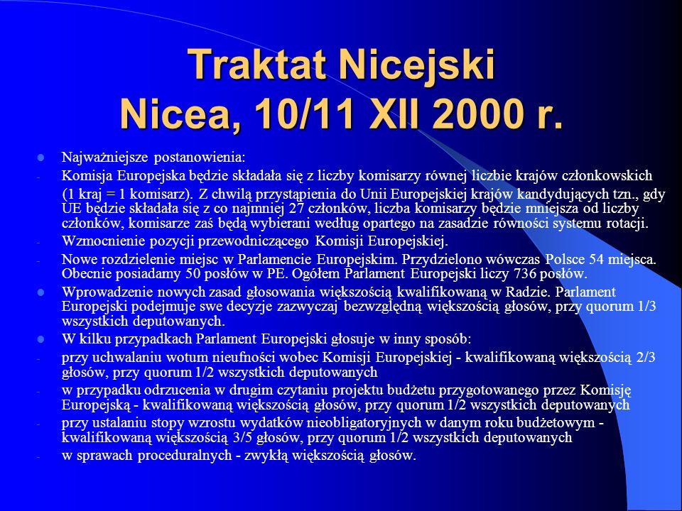 Traktat Nicejski Nicea, 10/11 XII 2000 r. Najważniejsze postanowienia: - Komisja Europejska będzie składała się z liczby komisarzy równej liczbie kraj