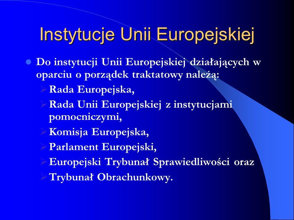 Instytucje Unii Europejskiej Do instytucji Unii Europejskiej działających w oparciu o porządek traktatowy należą: Rada Europejska, Rada Unii Europejsk