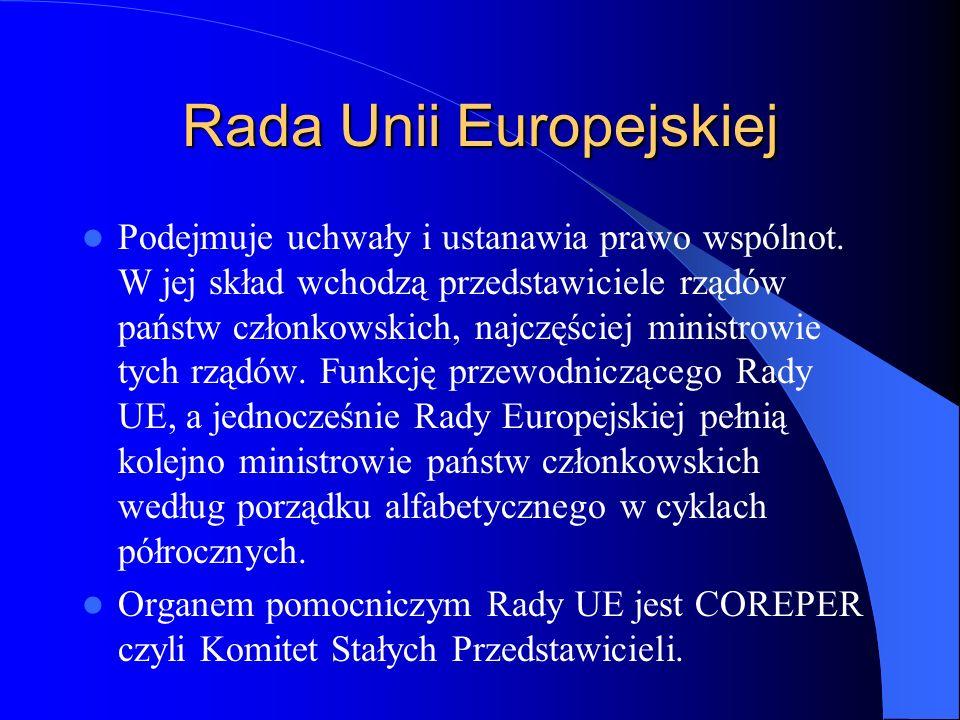 Rada Unii Europejskiej Podejmuje uchwały i ustanawia prawo wspólnot. W jej skład wchodzą przedstawiciele rządów państw członkowskich, najczęściej mini