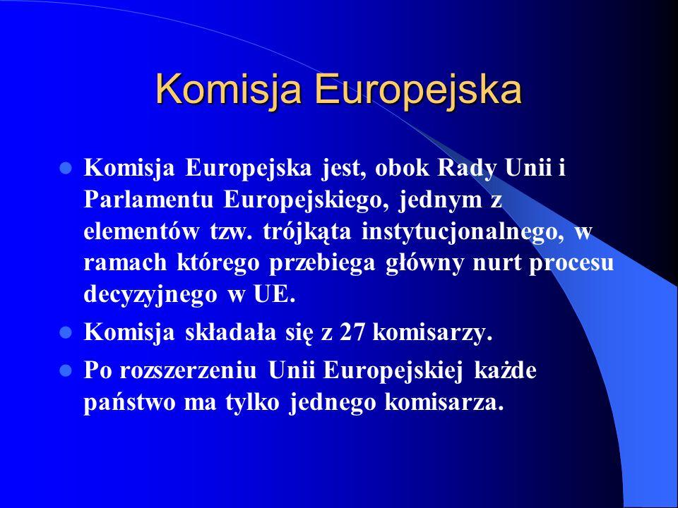 Komisja Europejska Komisja Europejska jest, obok Rady Unii i Parlamentu Europejskiego, jednym z elementów tzw. trójkąta instytucjonalnego, w ramach kt