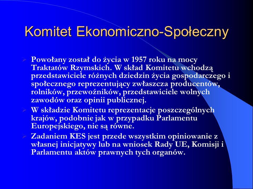 Komitet Ekonomiczno-Społeczny Powołany został do życia w 1957 roku na mocy Traktatów Rzymskich. W skład Komitetu wchodzą przedstawiciele różnych dzied