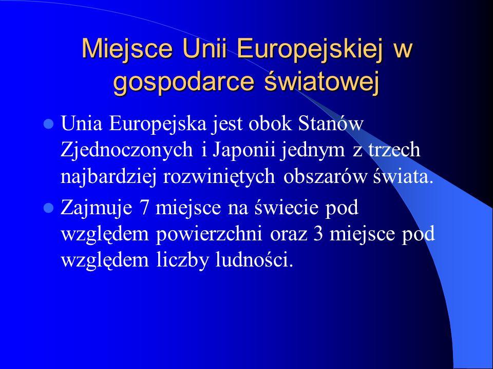 Miejsce Unii Europejskiej w gospodarce światowej Unia Europejska jest obok Stanów Zjednoczonych i Japonii jednym z trzech najbardziej rozwiniętych obs