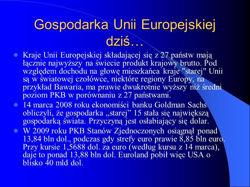 Gospodarka Unii Europejskiej dziś… Kraje Unii Europejskiej składającej się z 27 państw mają łącznie najwyższy na świecie produkt krajowy brutto. Pod w