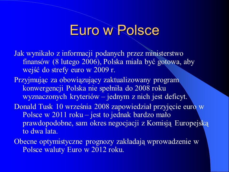 Euro w Polsce Jak wynikało z informacji podanych przez ministerstwo finansów (8 lutego 2006), Polska miała być gotowa, aby wejść do strefy euro w 2009