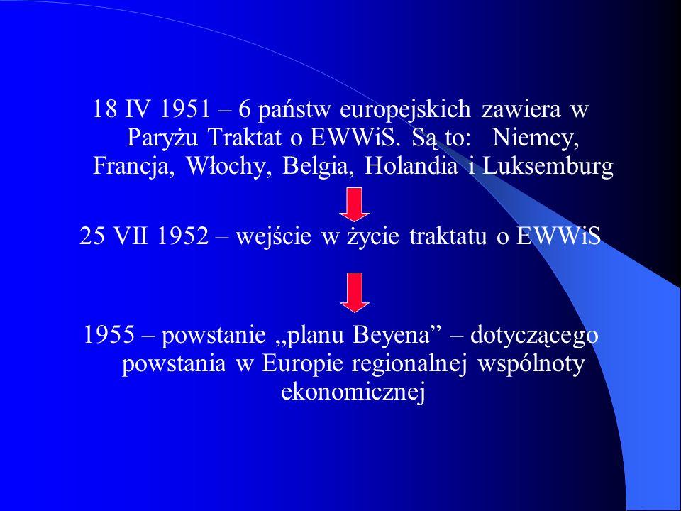18 IV 1951 – 6 państw europejskich zawiera w Paryżu Traktat o EWWiS. Są to: Niemcy, Francja, Włochy, Belgia, Holandia i Luksemburg 25 VII 1952 – wejśc