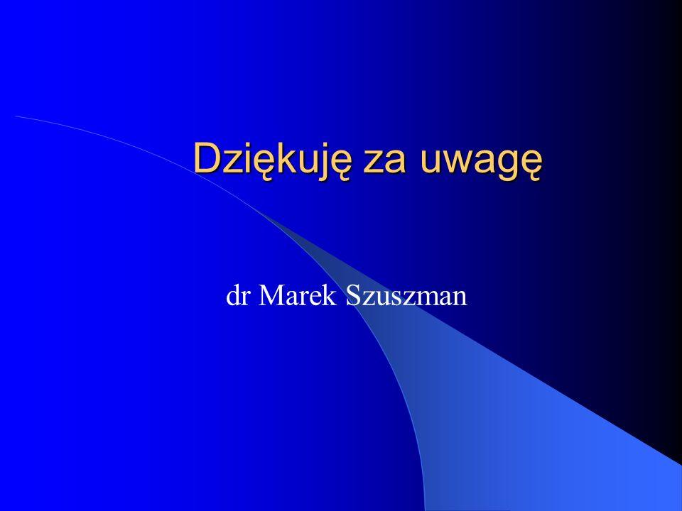 Dziękuję za uwagę dr Marek Szuszman