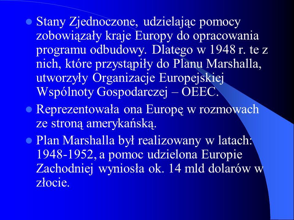 Organizacja Europejskiej Współpracy Gospodarczej Po zakończeniu Planu Marshalla kraje OEEC kontynuowały współpracę, przede wszystkim w celu ułatwienia przedsiębiorcom z różnych krajów nawiązania kontaktów handlowych.