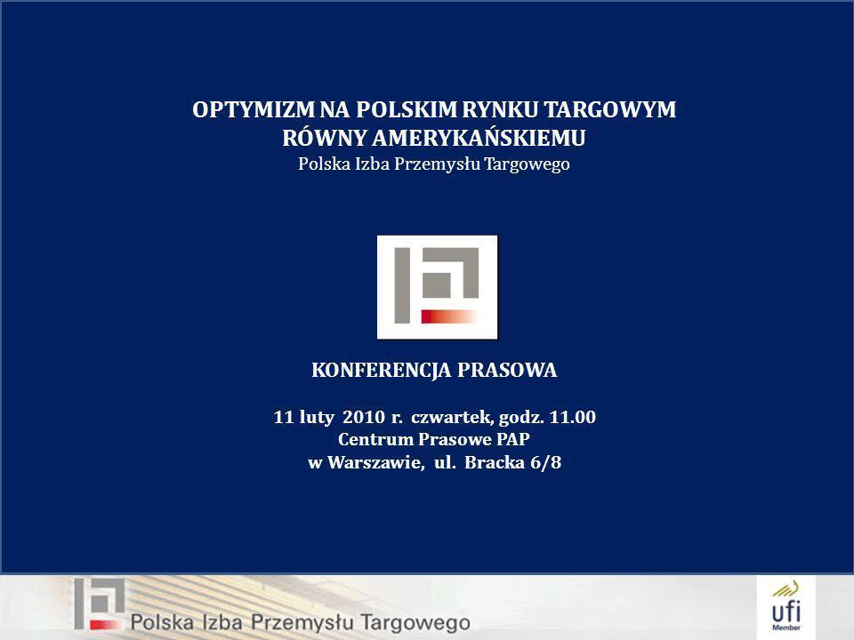 OPTYMIZM NA POLSKIM RYNKU TARGOWYM RÓWNY AMERYKAŃSKIEMU Polska Izba Przemysłu Targowego KONFERENCJA PRASOWA 11 luty 2010 r.