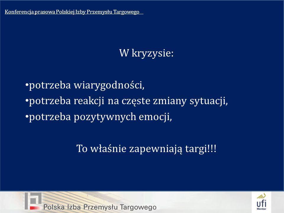 Konferencja prasowa Polskiej Izby Przemysłu Targowego__ W kryzysie: potrzeba wiarygodności, potrzeba reakcji na częste zmiany sytuacji, potrzeba pozytywnych emocji, To właśnie zapewniają targi!!!