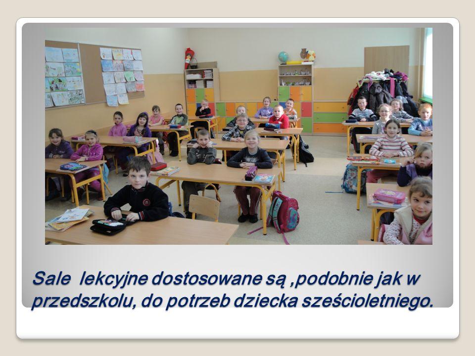 Sale lekcyjne dostosowane są,podobnie jak w przedszkolu, do potrzeb dziecka sześcioletniego.