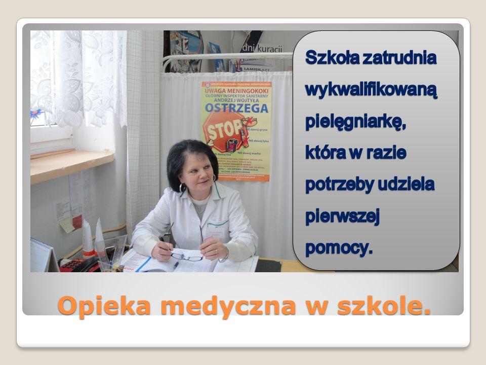 Opieka medyczna w szkole.