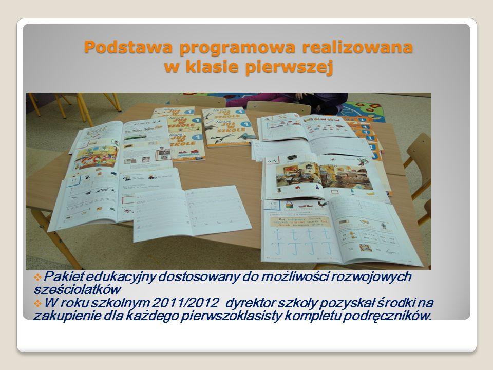 Podstawa programowa realizowana w klasie pierwszej Pakiet edukacyjny dostosowany do możliwości rozwojowych sześciolatków W roku szkolnym 2011/2012 dyr