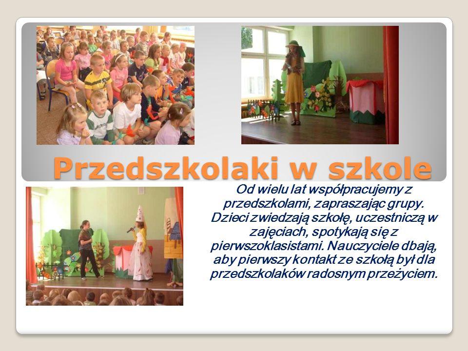 Przedszkolaki w szkole Od wielu lat współpracujemy z przedszkolami, zapraszając grupy. Dzieci zwiedzają szkołę, uczestniczą w zajęciach, spotykają się