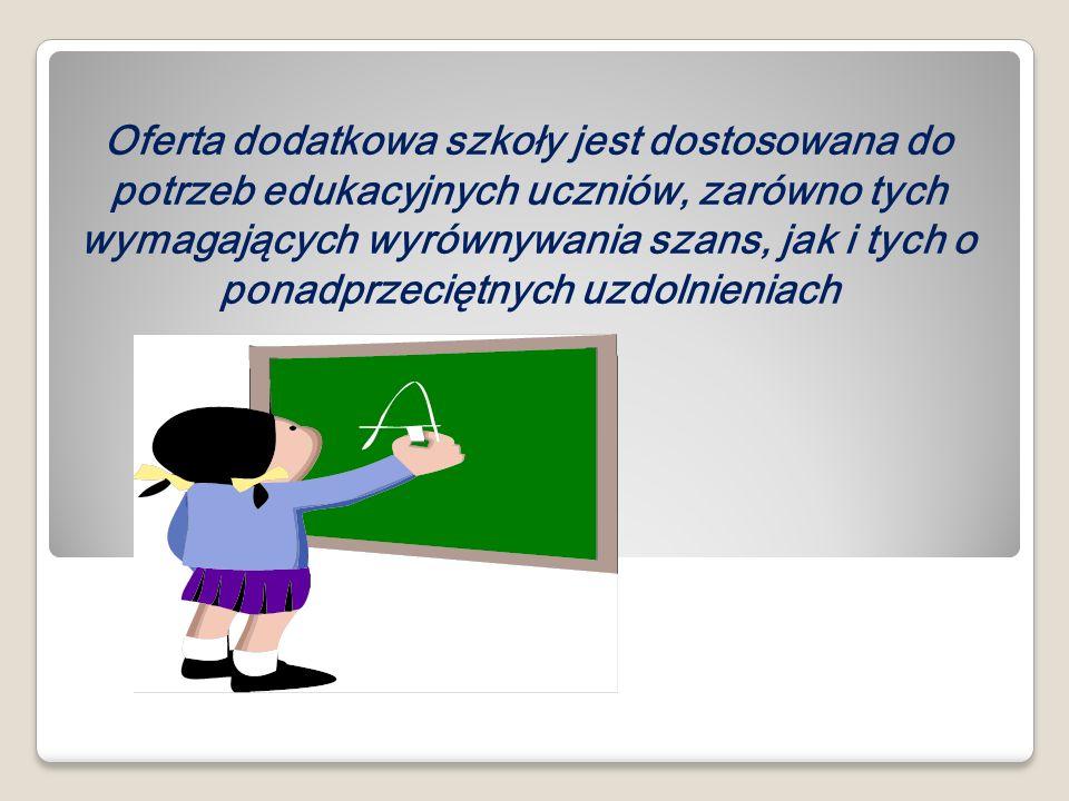 Oferta dodatkowa szkoły jest dostosowana do potrzeb edukacyjnych uczniów, zarówno tych wymagających wyrównywania szans, jak i tych o ponadprzeciętnych