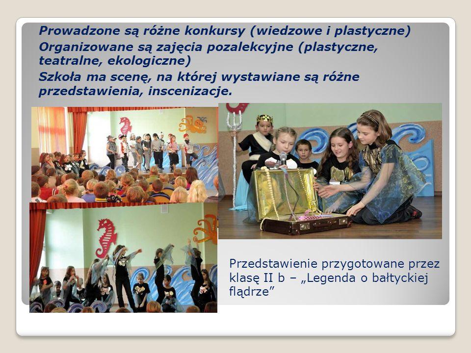 Prowadzone są różne konkursy (wiedzowe i plastyczne) Organizowane są zajęcia pozalekcyjne (plastyczne, teatralne, ekologiczne) Szkoła ma scenę, na któ