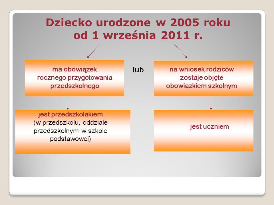 Dziecko urodzone w 2005 roku od 1 września 2011 r. ma obowiązek rocznego przygotowania przedszkolnego na wniosek rodziców zostaje objęte obowiązkiem s