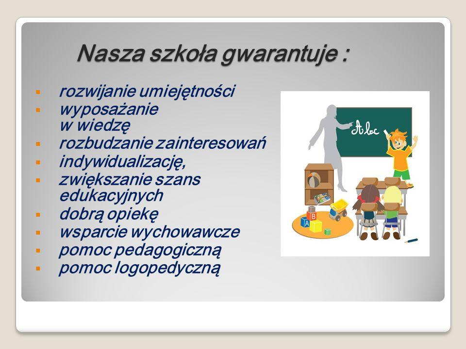 Nasza szkoła gwarantuje : Nasza szkoła gwarantuje : rozwijanie umiejętności wyposażanie w wiedzę rozbudzanie zainteresowań indywidualizację, zwiększan