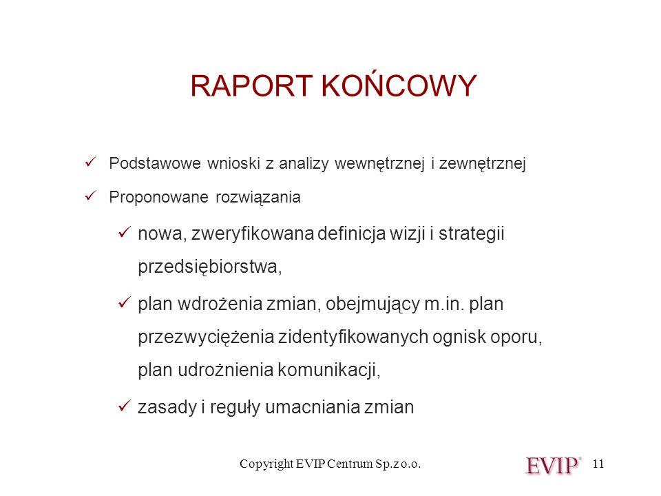 Copyright EVIP Centrum Sp.z o.o.11 RAPORT KOŃCOWY Podstawowe wnioski z analizy wewnętrznej i zewnętrznej Proponowane rozwiązania nowa, zweryfikowana d