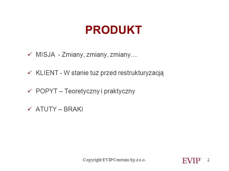Copyright EVIP Centrum Sp.z o.o.2 PRODUKT MISJA - Zmiany, zmiany, zmiany.... KLIENT - W stanie tuż przed restrukturyzacją POPYT – Teoretyczny i prakty