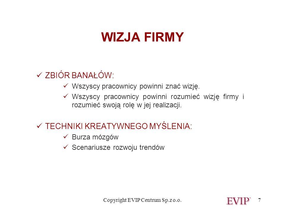 Copyright EVIP Centrum Sp.z o.o.7 WIZJA FIRMY ZBIÓR BANAŁÓW: Wszyscy pracownicy powinni znać wizję. Wszyscy pracownicy powinni rozumieć wizję firmy i