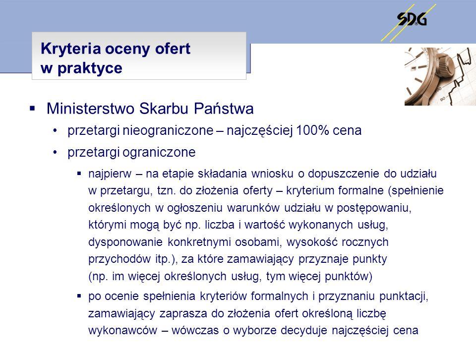 Kryteria oceny ofert w praktyce Ministerstwo Skarbu Państwa przetargi nieograniczone – najczęściej 100% cena przetargi ograniczone najpierw – na etapi