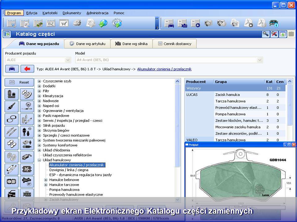 Elektroniczny Katalog Części wykorzystujący Bazę TecDoc Przykładowy ekran Elektronicznego Katalogu części zamiennych