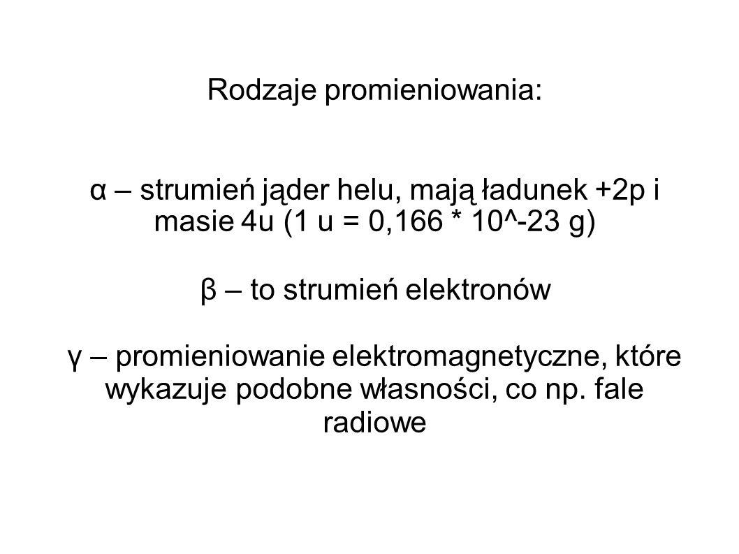 Rodzaje promieniowania: α – strumień jąder helu, mają ładunek +2p i masie 4u (1 u = 0,166 * 10^-23 g) β – to strumień elektronów γ – promieniowanie el