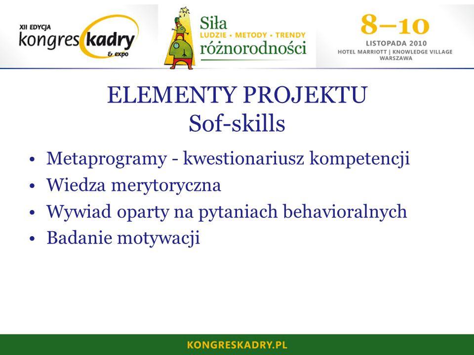 ELEMENTY PROJEKTU Sof-skills Metaprogramy - kwestionariusz kompetencji Wiedza merytoryczna Wywiad oparty na pytaniach behavioralnych Badanie motywacji