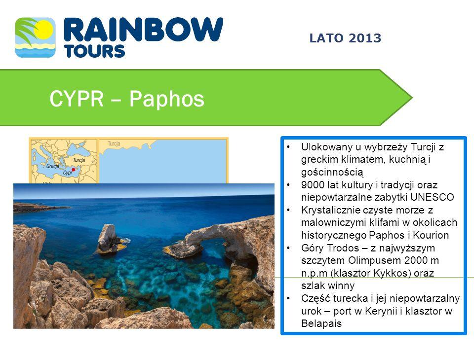 CYPR – Paphos Ulokowany u wybrzeży Turcji z greckim klimatem, kuchnią i gościnnością 9000 lat kultury i tradycji oraz niepowtarzalne zabytki UNESCO Kr