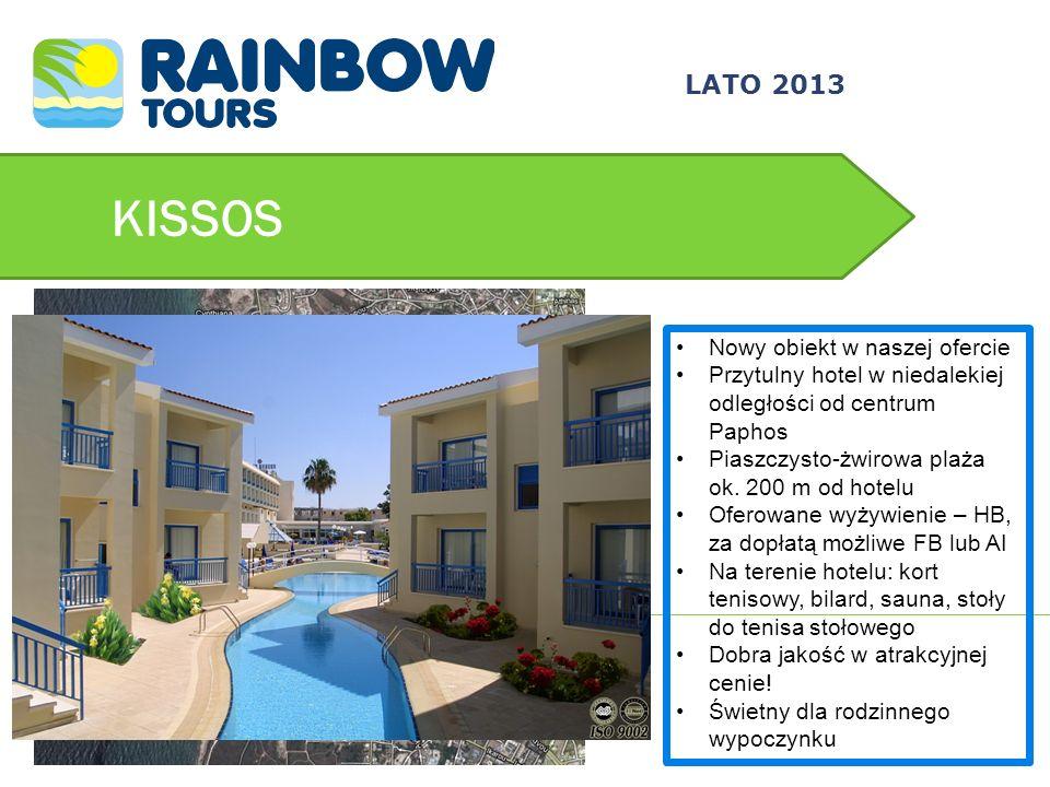 KISSOS Nowy obiekt w naszej ofercie Przytulny hotel w niedalekiej odległości od centrum Paphos Piaszczysto-żwirowa plaża ok. 200 m od hotelu Oferowane