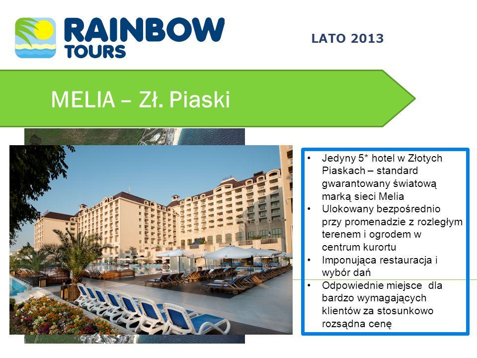 MELIA – Zł. Piaski Jedyny 5* hotel w Złotych Piaskach – standard gwarantowany światową marką sieci Melia Ulokowany bezpośrednio przy promenadzie z roz