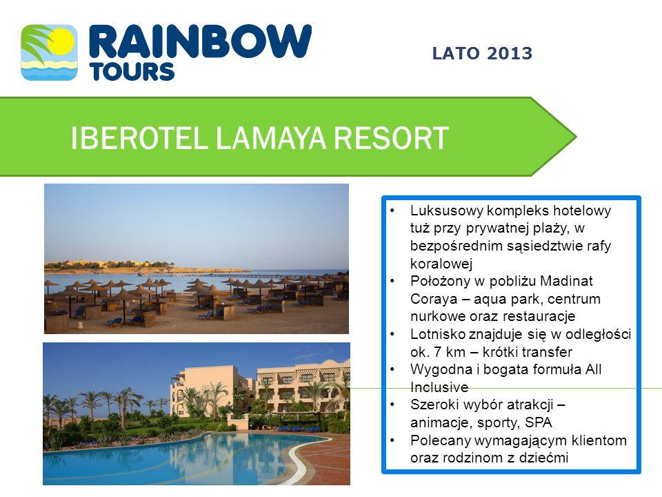 IBEROTEL LAMAYA RESORT Luksusowy kompleks hotelowy tuż przy prywatnej plaży, w bezpośrednim sąsiedztwie rafy koralowej Położony w pobliżu Madinat Cora