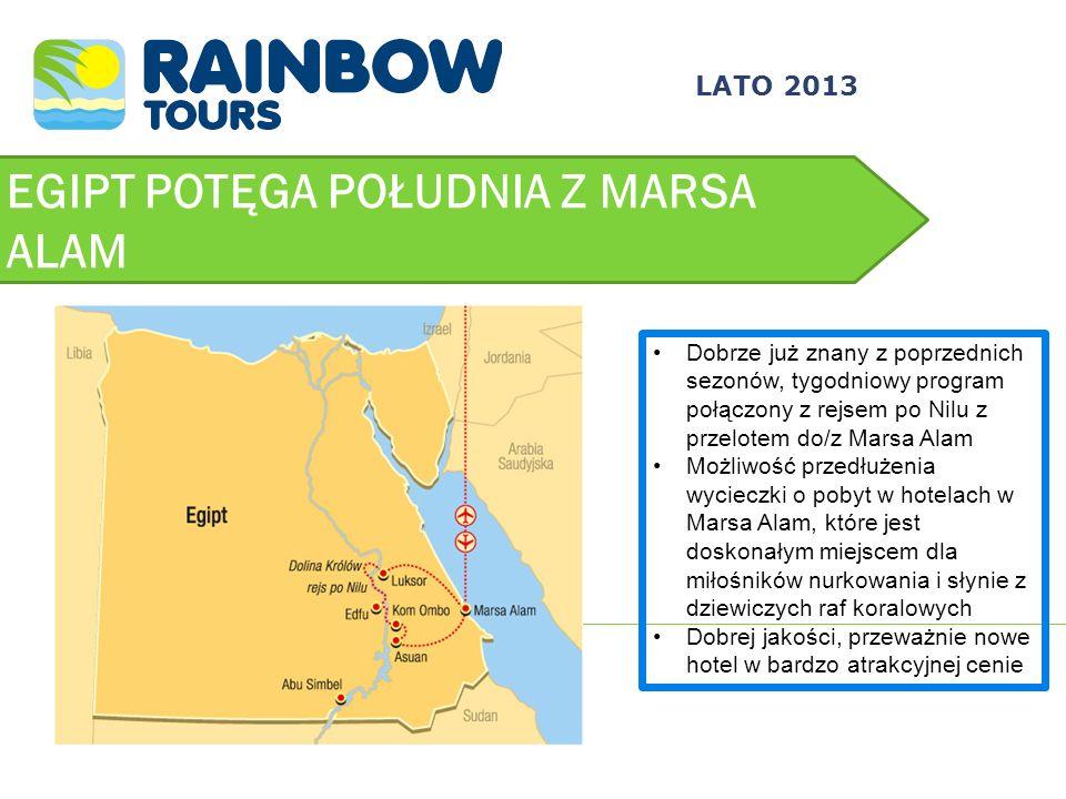 EGIPT POTĘGA POŁUDNIA Z MARSA ALAM LATO 2013 Dobrze już znany z poprzednich sezonów, tygodniowy program połączony z rejsem po Nilu z przelotem do/z Ma