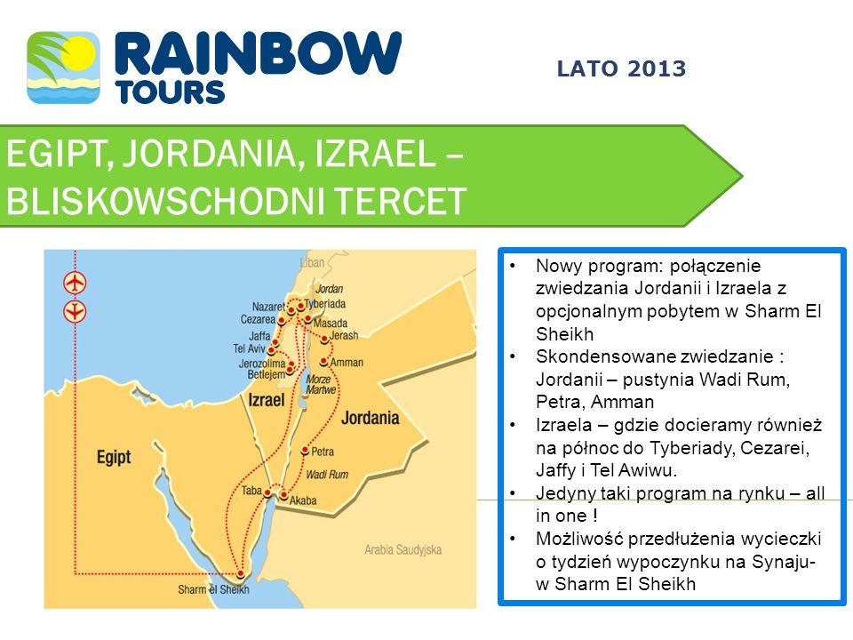 EGIPT, JORDANIA, IZRAEL – BLISKOWSCHODNI TERCET LATO 2013 Nowy program: połączenie zwiedzania Jordanii i Izraela z opcjonalnym pobytem w Sharm El Shei