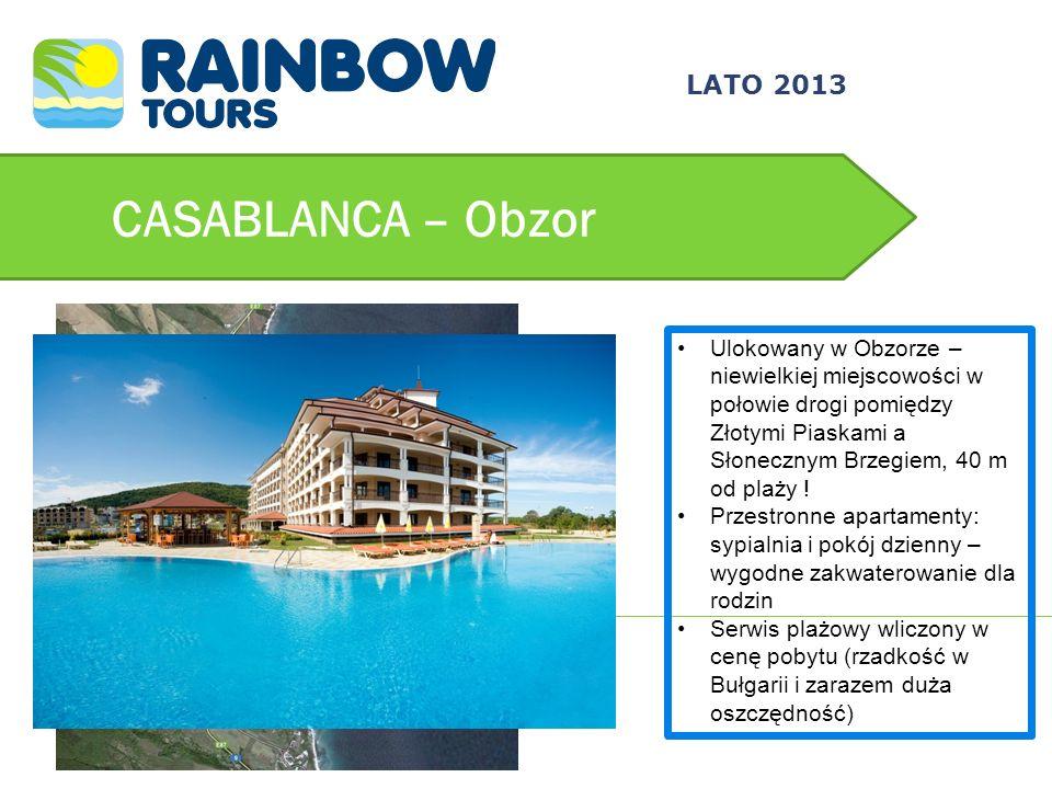 CASABLANCA – Obzor Ulokowany w Obzorze – niewielkiej miejscowości w połowie drogi pomiędzy Złotymi Piaskami a Słonecznym Brzegiem, 40 m od plaży ! Prz