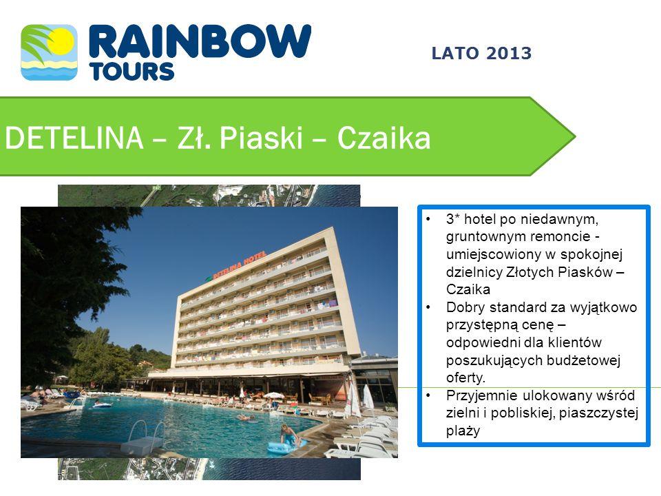 DETELINA – Zł. Piaski – Czaika 3* hotel po niedawnym, gruntownym remoncie - umiejscowiony w spokojnej dzielnicy Złotych Piasków – Czaika Dobry standar
