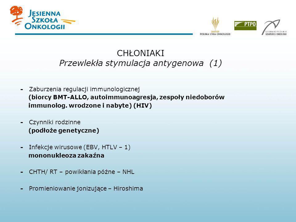 CHŁONIAKI Przewlekła stymulacja antygenowa (1) - Zaburzenia regulacji immunologicznej (biorcy BMT-ALLO, autoimmunoagresja, zespoły niedoborów immunolo