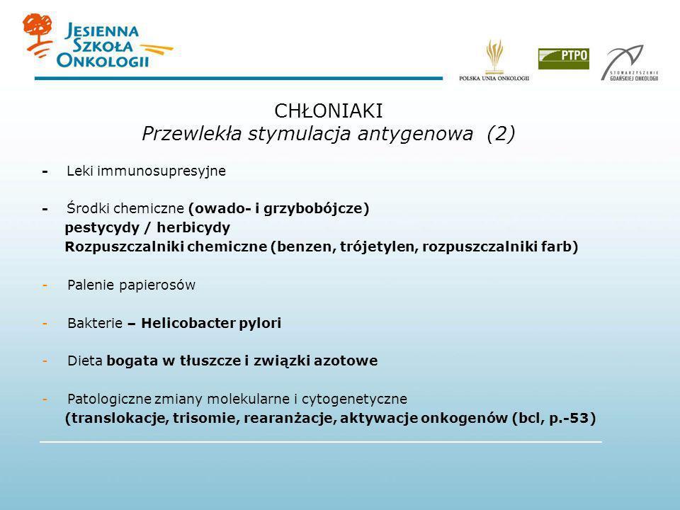 - Leki immunosupresyjne - Środki chemiczne (owado- i grzybobójcze) pestycydy / herbicydy Rozpuszczalniki chemiczne (benzen, trójetylen, rozpuszczalnik